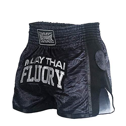 FLUORY - Pantalones cortos para artes marciales mixtas, kickboxing, lucha en jaula o Muay Thai, ropa deportiva para entrenamiento, Negro-mtsf69, S