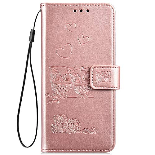 Hpory Kompatibel mit Huawei Y5 II Hülle, Huawei Y6 II Compact Handyhülle Retro Muster PU Leder mit Handschlaufe Geldbörse Hülle Flip Cover Schutzhülle Hülle Tasche + 1 x Hpory Stylus - Eulen Rosegold