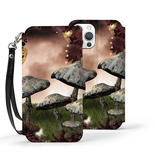 Fairytale Forest Scenery with Champiñones - Funda tipo cartera para iPhone 12 Pro, a prueba de golpes