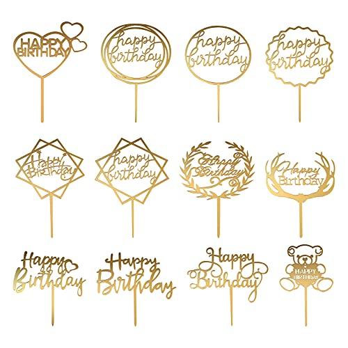 12 Stück Happy Birthday Cake Topper, Tortenstecker Dekoration Gold Geburtstag Kuchen Topper Tortendekoration Alles Gute zum Geburtstag Cake Topper für Kinder Mädchen Junge Party Baby