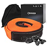 BUNKER INDUST Recovery Towing Strap Kit, 3' x 30ft Heavy Duty 30,000 lbs Vehicle Tow Rope with Storage Bag and 2pcs D Ring Shackles-Emergency Off Road Truck Accessories Towing Winch Snatch Strap