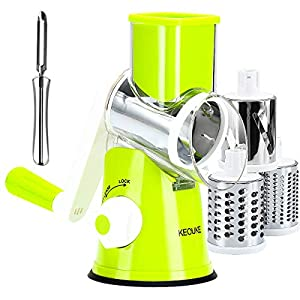 KEOUKE Manual Rotary Cheese Grater - Veggie Slicer Shredder Nuts Grinder with a Stainless Steel peeler (Green)