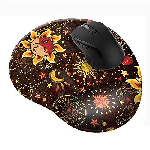 WIRESTER Celestial Sun Moon and Stars Comfortable Wrist Support Mouse Pad for Home and Office with Matching Microfiber Cleaning Cloth for Computer and Mobile Screens