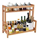 Kitchen Spice Rack Organizer Countertop 2 Tiers Bamboo Wood Spice Holder Jar Bottle