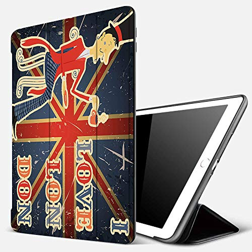 iPad 7 Hülle für iPad 10.2 2019,Briten, ich Liebe London Zitat englischer Mann Trinken Tee auf UK-Flagge Hinterg,Ultradünne Soft TPU Rückseite Abdeckung Schutzhülle mit,Automatischem Schlaf/Aufwach,