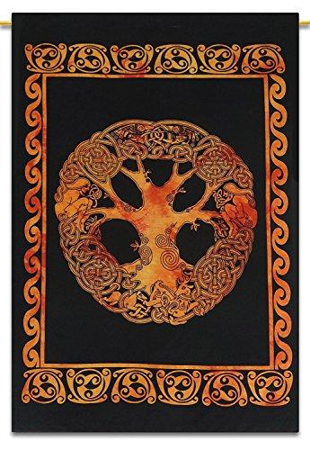 Größe Bohemianischer Baum des Lebens, indisch, keltisch, Herz-Deko, Wandposter, Tagesdecke, Überwurf, Poster, Baumwolle, Orangener keltischer Baum, 42