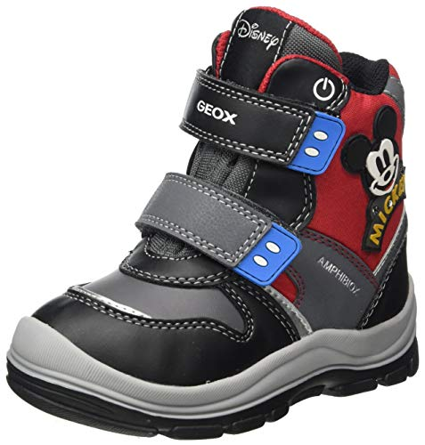 Geox Jungen B FLANFIL Boy B ABX Snow Boot, Black/Red, 27 EU