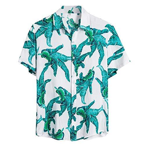 Nueva Camisa Hawaiana para Hombre Camisas Estampada Unisex Primavera y Verano Moda Shirt cómodo Casual Top de Flores de Manga Corta de Vacaciones en la Playa Azul 216