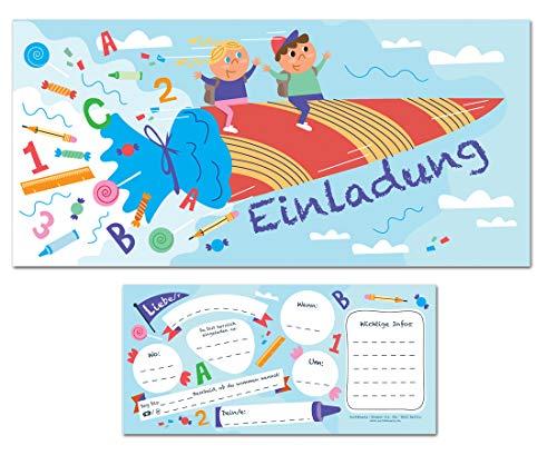CardWheels 15 x Einladung Einschulung Schulanfang Schuleingang Zuckertüte Schultüte Jungen Mädchen