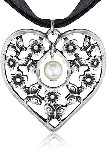 LUISIA Satin Collier Sue mit Herz Anhänger - Schwarz - Zauberhafte Halskette mit Herzanhänger Blumen und Schmetterlinge für Dirndl, Trachten und Sommerkleid