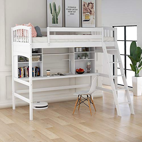 Merax Twin Loft Bed, Solid Wood Twin Size Loft Bed with Shelves and Desk for Kids/Teens/Adults (White)