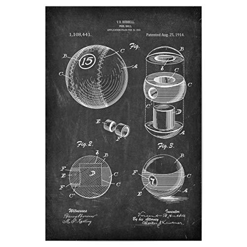 artboxONE Poster 60x40 cm Schwarzweiß Billiard Ball (Tafel) - Bild poolbillard billardspiel Blaupause