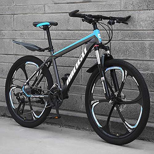 WLKQ Pieghevole Mountain Bike, MTB, Bici Biammortizzata, 26 velocità Doppia Sospensione Biciclette, Telaio in Acciaio ad Alto Tenore di Carbonio Mountainbike, Adulti Bike,Blue 6 Spoke,21 Speed