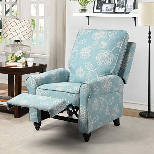 BINGTOO Manual Recliner Chair- Push Back Arm Chair Recliner for Ladies, Single Sofa Home Theater Seating for Small Spaces - Comfortable Bedroom & Living Room Chair Reclining Sofa, Modern,Fabric (blue)