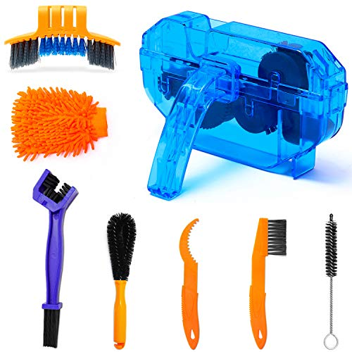 Sportneer Bike Cleaning Kit Including Bicycle Chain Scrubber, 8pcs Bike Cleaner Brush Tool for Mountain/Road/City/BMX/Mixed/Folding Bike