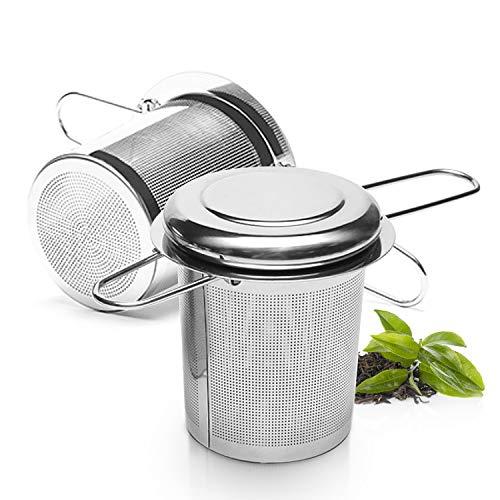 TOCYORIC Teesieb Teefilter mit Deckel, 304 Edelstahl Tee Sieb für losen Tee Premium Sieb Teesieben mit Faltbare Griffgestaltung Passend für Teekannen, Tee-Tassen, 2 Stück