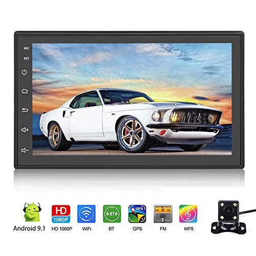 """Android 9.1 Car Stereo Double Din Car Radio with Bluetooth 7"""" Touch Screen Multimedia Player WiFi GPS FM Radio Receiver Universal Map APK MP5 Player Indash Head Unit 2 USB SWC with Rear View Camera"""