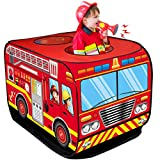D-FantiX Fire Truck Pop Up Play Tents for Kids, Indoor Outdoor Foldable Pretend Playhouses Red Fire Trucks Tent for Boys Toddlers Girls Toys with Carrying Bag