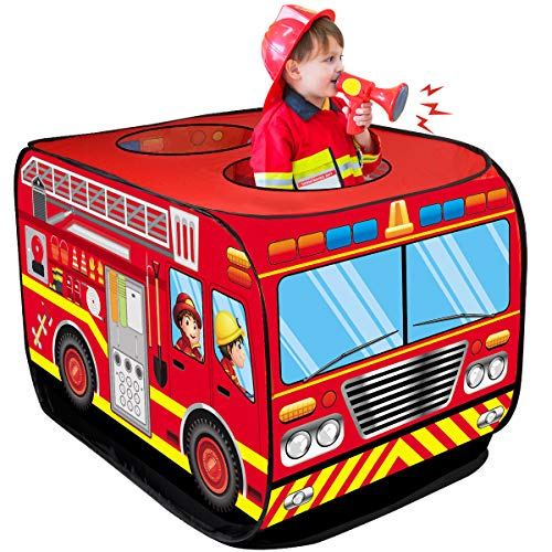 D-FantiX Fire Truck Pop Up Play Tents for Kids Indoor Outdoor Playhouses Foldable Pretend Fire Engine Tent Boys Girls Toddlers Toys Red Large with Carrying Bag