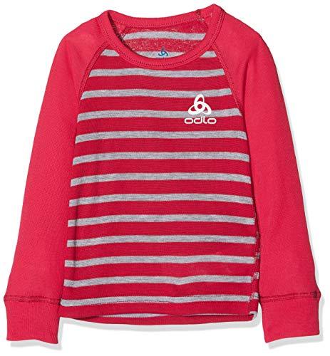 Odlo Kinder BL TOP Crew Neck l/s Active WARM Kids Unterhemd, Cerise-Grey Melange-Stripes, 140