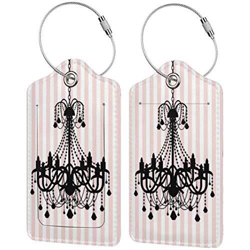 Etiquetas de equipaje con diseño de candelabro vintage y rayas rosas para equipaje de mano, con correas ajustables para viajes y negocios, 2 unidades por juego