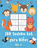 200 Sudoku 6x6 para Niños Vol 2: A partir de 5 años | 1 Sudoku por página con dibujos para Colorear | Unicornios, Dragones, Animales y Mucho más | ... que Estimula el Aprendizaje de los Números