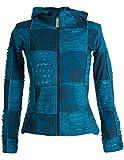 Vishes – Alternative Bekleidung – Kurze, leichte Patchworkjacke aus Baumwolle mit Zipfelkapuze und Cutwork türkis 42