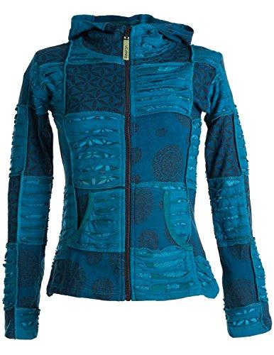 Vishes – Alternative Bekleidung – Kurze, leichte Patchworkjacke aus Baumwolle mit Zipfelkapuze und Cutwork türkis 38
