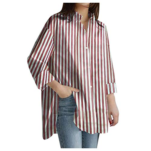 Camisa para Mujer, Estampado de Rayas, Manga Larga, Cuello Redondo Parte Superior Informal, Suelta Camisas Casual Elegante Pullover Blusas Camiseta.