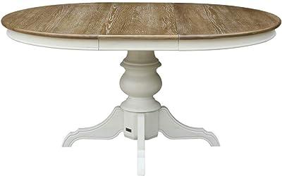 Robin des bois - Table Repas Ronde Extensible, 6 à 8 Couverts, Blanche, Ariane