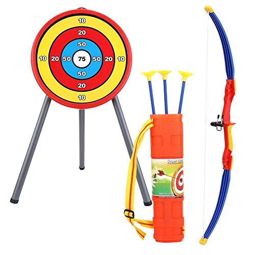 VGEBY Bogenschießen Spielzeug Set, Kinder Bogen Ziel Set Schießen Spielzeug mit Weichen Pfeilen, Köcher für Outdoor Indoor
