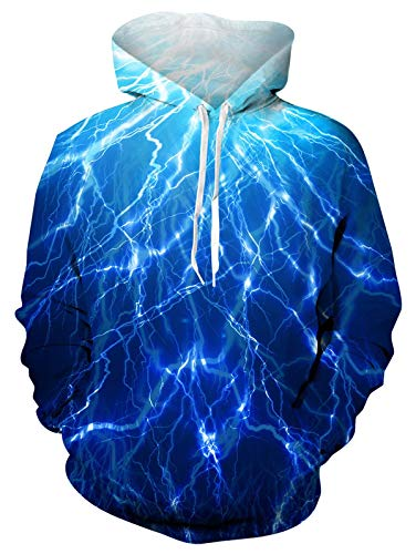 ALISISTER Hoodies Men Women 3D Cool Lightning Printed Fleece Hoodies Pullover Sweatshirt Casual Long Sleeve Fleece Plush Hooded Jumper with Pockets M