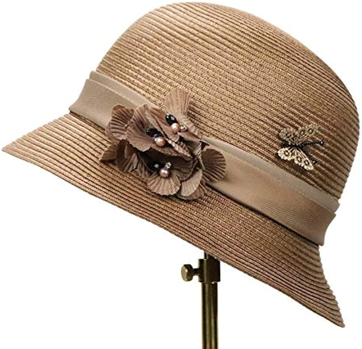 Summer Folding Beach Sunshade Straw Hat Ms. Linen Table PP Material Straw Hat Outdoor Leisure Out Cap (color   Coffee)
