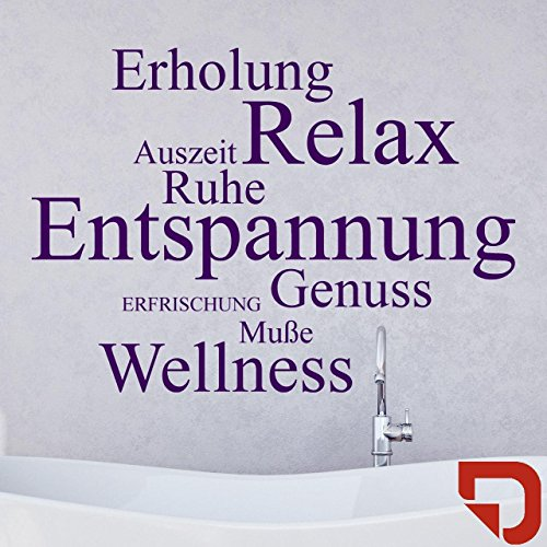 DESIGNSCAPE® Wandtattoo Relax: Erholung, Auszeit, Ruhe, Entspannung, Genuss, Erfrischung, Muße, Wellness 60 x 43 cm (Breite x Höhe) rot DW803068-S-F20
