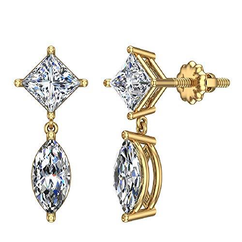 2.06 ct tw Princess & Marquise Drop Two stone Diamond Dangle Earrings 18K Yellow Gold (G, VS)
