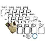 gouveo 24er Set Einmachgläser Quadrat 150 ml Drehverschluss Silber und 28-seitige...