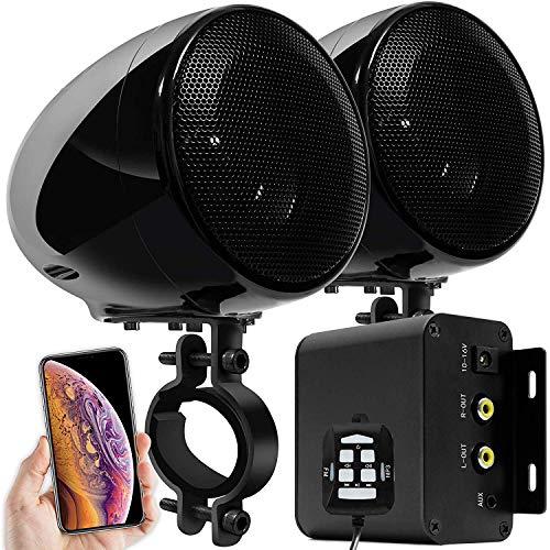 Aileap M150 Sistema de Audio con Amplificador de Moto con AUX, MP3, Radio FM, 4 Pulgadas de Altavoces estéreo Bluetooth Impermeables para Motocicletas ATV UTV RZR (Negro, Red)