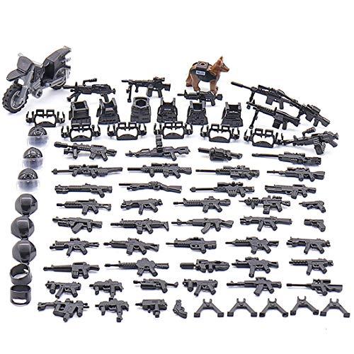 LOSGO Millitärspielzeug Helm, Weste, Polizeihund, Polizeiautound, Waffe Set für Soldaten Minifiguren SWAT Polizei, Kompatibel mit Lego