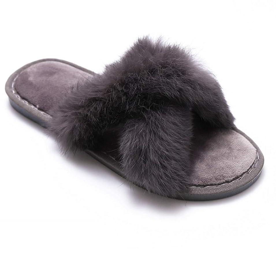 そしてパッドワットAnto Fashion ルームシューズ ラビットファー サンダル スリッパ 交叉型 室内履き レディース 秋冬 室外履き 可能