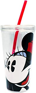 Zak 1555-2771 Planet Minnie Mouse Double Wall Tumbler with Straw, 16-Ounce