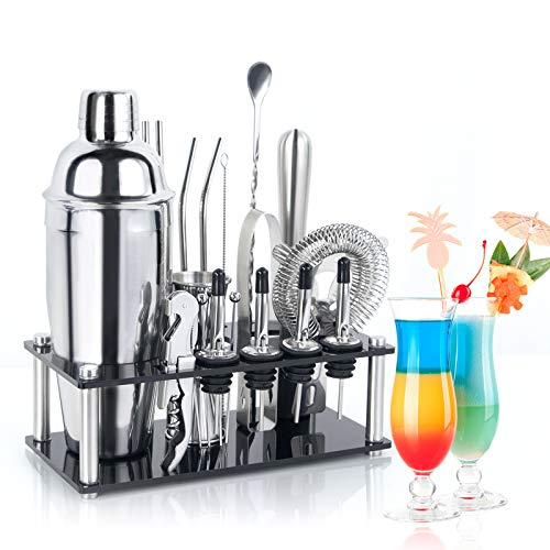 Cocktail-Shaker-Bartender-Kit-Set, 21pcs Martini Shaker Set Bar Set with Stylish Acrylic Stand, Professional Stainless Steel Bar Tools for Home, Bars, Traveling and Outdoor Parties