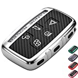 Lcyam Tpu Key Fob Case Cover Fits for 5 Button Land Range Rover Discovery Jaguar, Silver