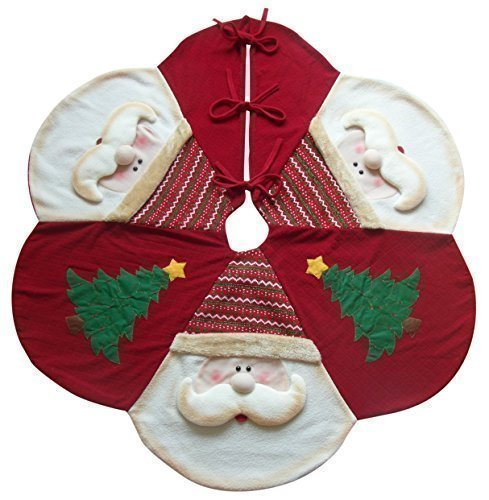 Maggy Kay Large Plush Red Christmas Tree Skirt - 3D SANTA Design 48' / 122cm Decorative Floor Protector