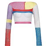 HEYLULU Camiseta Corta de Punto de Manga Larga para Mujer Sexy Cuello Cuadrado Crochet Arco Iris suéter Camiseta