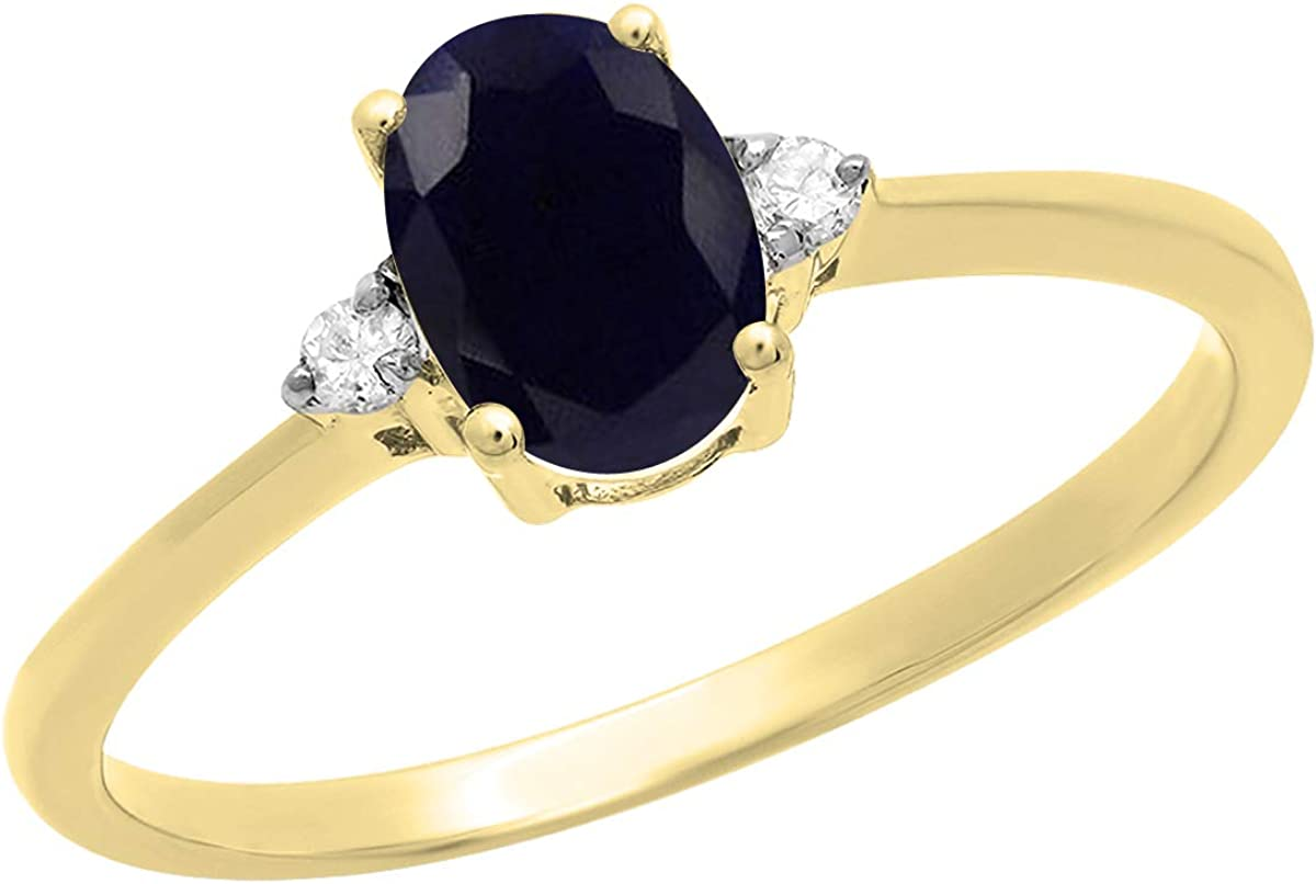 Dazzlingrock Collection 10K 7X5 MM Oval Blue Sapphire & Round Diamond Bridal Promise Engagement Ring, Yellow Gold, Size 7