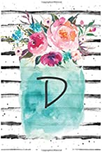 Cute Flowers Monogram Letter D Notebook: Cute Monogram Letter D Lined Journal With Flowers Cover Notebook 120 Pages Soft And Matte Cover 6x9 Inch