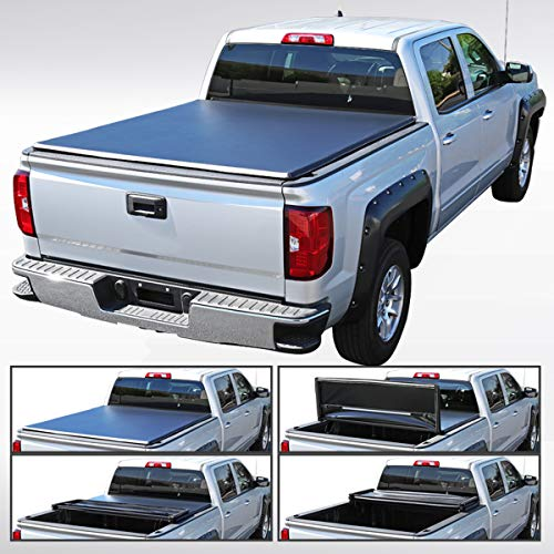 Autozensation for 2004-2014 Ford F150 Black 5.5ft 5'6' Short Bed TriFold Tonneau...