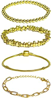 4 PCS Bracelets for Women Lady Girl, Fashion Chain Bangle Jewelry Set, Best Gift for Yourself Friends Family, 7.48 inches