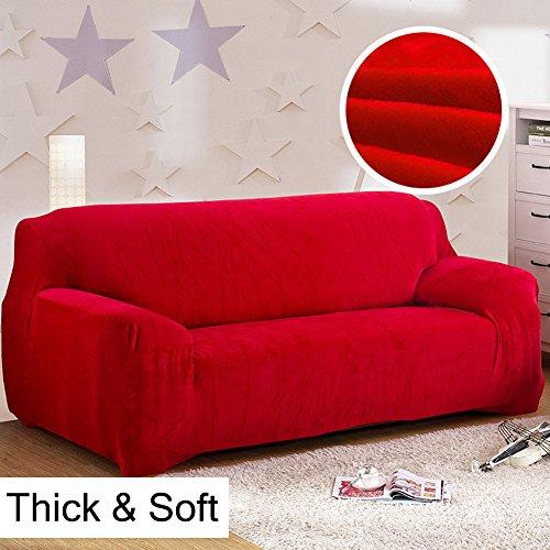 Copridivano in spesso velluto elastico, fodera protettiva da divano, aderente e facile da mettere, in tessuto elasticizzato, Red, 3 Seater:195-230cm