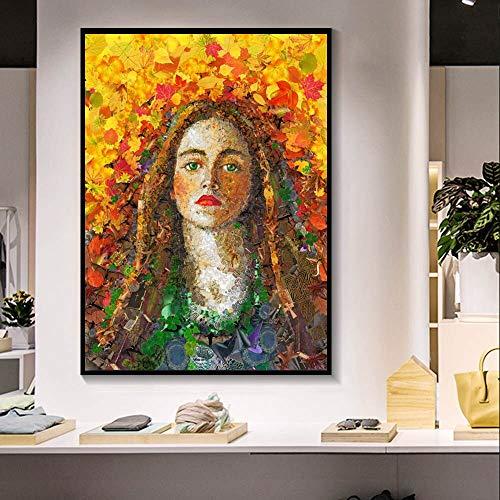 Arte Abstracto Pintura al óleo Pared niña Flor Retrato Lienzo póster Sala decoración del hogar Pintura sin Marco 30x40cm